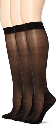 Secret Silky Women's Medium Graduated Compression Knee High 3 Pair