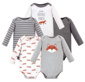 Hudson Baby Baby Girls and Boys Little Fox Long-Sleeve Bodysuits, Pack of 5