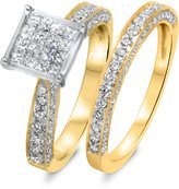 My Trio Rings 1 1/3 CT. T.W. Diamond Women's Bridal Wedding Ring Set 10K Yellow Gold