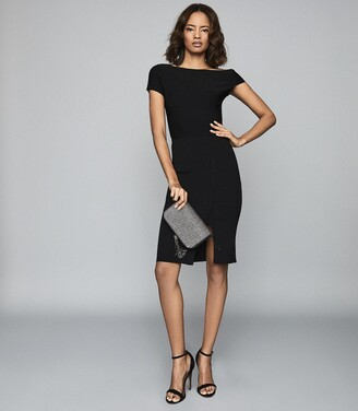 Reiss Lavinia - Knitted Bodycon Dress in Black