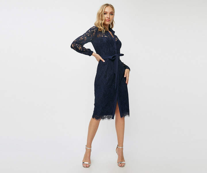Oasis Lace Midi Shirt Dress