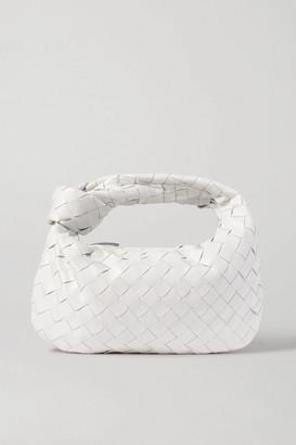 Bottega Veneta Jodie Mini Knotted Intrecciato Textured-leather Tote - White