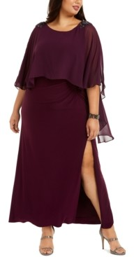 Adrianna Papell Plus Size Capelet Gown