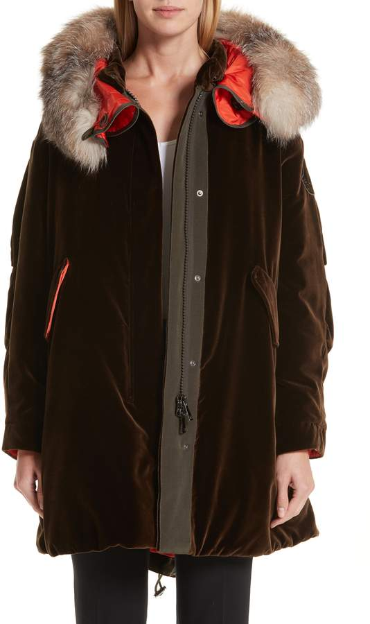 Moncler Tadorne Velvet Down Coat with Genuine Fox Fur Trim
