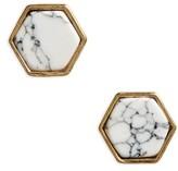 BP Women's Marbled Hexagon Stud Earrings