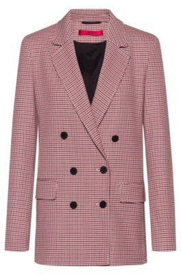 HUGO BOSS Double Breasted Relaxed Fit Jacket With Micro Houndstooth Motif - Patterned