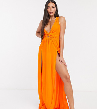 Asos Tall ASOS DESIGN tall tie back beach maxi dress with twist front detail in orange