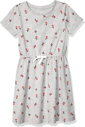 Amazon Essentials Girls' Short-sleeve Elastic Waist T-shirt Dress Heather Grey Floral M (8)