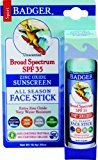 Badger SPF 35 Plus Sunscreen All Season Face Stick Unscented -- 0.65 oz