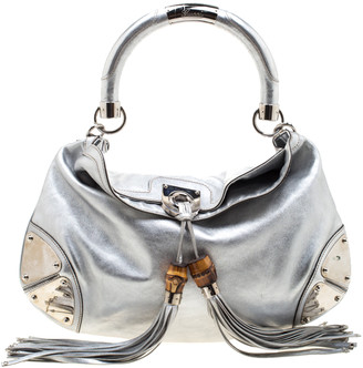 Gucci Metallic Silver Leather Medium Babouska Indy Hobo
