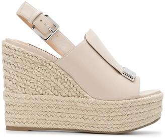Sergio Rossi Slingback Platform Wedge Sandals