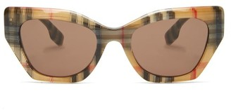 Burberry Vintage-check Cat-eye Acetate Sunglasses - Womens - Beige Print