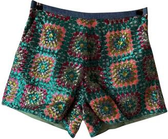 Manoush Green Glitter Shorts for Women