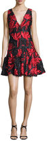 Milly Sleeveless Textured Leaf Fit-and-Flare Dress, Red/Black