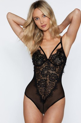 Nasty Gal Womens I'm Into You Lace Bodysuit - black - S
