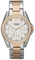 Fossil 'Riley' Round Crystal Bezel Bracelet Watch, 38mm