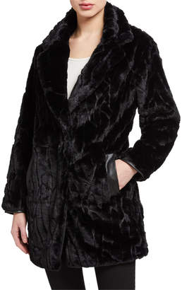 T Tahari Faux-Fur Coat with Faux Leather Trim