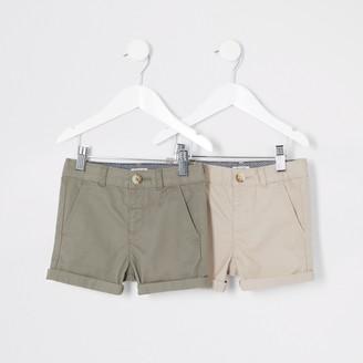 River Island Mini boys Beige chino shorts multipack