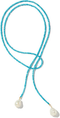 Joie DiGiovanni Classic Turquoise Pearl and Metal Lariat