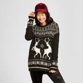 Mossimo Women's Reindeer Pattern Pullover Sweater Black