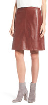 Halogen A-Line Leather Skirt (Regular & Petite)
