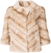 Yves Salomon high neck jacket - women - Silk/Rabbit Fur - 34