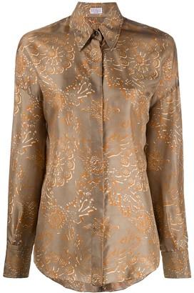 Brunello Cucinelli abstract-print silk shirt