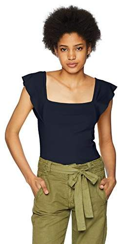 Three Dots Women's AA1545 Flutter SLV Square Neck TOP