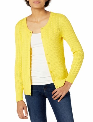 Amazon Essentials Women's Lightweight Cable Long-Sleeve Crewneck Cardigan Sweater