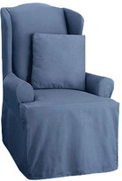Sure Fit Cotton Duck Wing Chair T-Cushion Slipcover