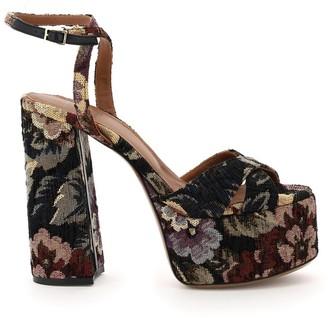 L'Autre Chose Floral Jacquard Platform Sandals