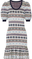 Alexander McQueen Fair Isle Jacquard-knit Silk-blend Mini Dress - Gray
