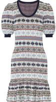 Alexander McQueen Fair Isle Jacquard-knit Silk-blend Mini Dress - Gray