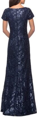 La Femme Short-Sleeve Metallic Lace Gown