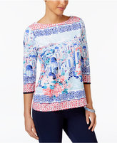 Charter Club Petite Scenic-Print Boat-Neck Top, Created for Macy's