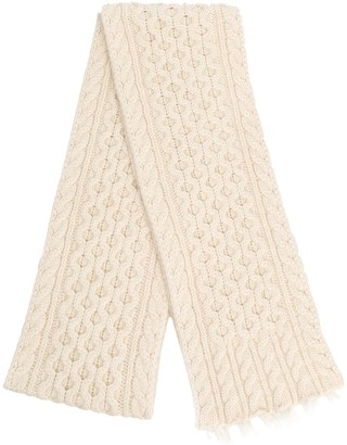 Alanui Cable-Knit Fringed Scarf