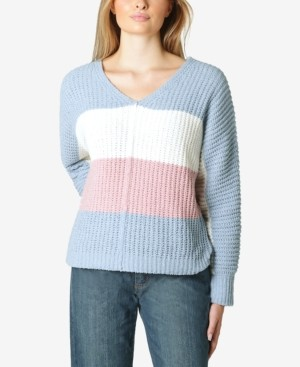 Ultra Flirt Juniors' Colorblocked Chenille V-Neck Sweater