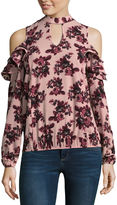 Self Esteem Long Sleeve Mock Neck Woven Floral Blouse-Juniors