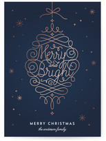 Minted Merry and Bright Ornament Foil-Pressed Holiday Cards