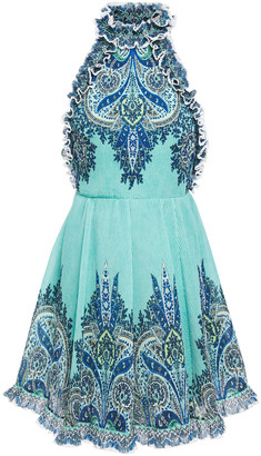 Zimmermann Moncur Ruffle Neck Open-back Printed Plisse-chiffon Mini Dress