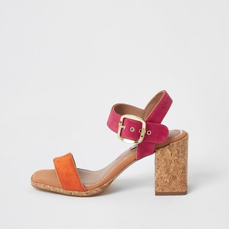 River Island Pink colour block cork heel sandals
