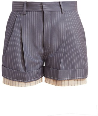 Chloé Layered Cuff Pinstripe Shorts