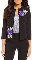 Kasper Crew Neck 3/4 Sleeve Floral Embroidered Open-Front Crepe Jacket