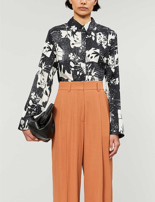 Topshop Boutique floral-print satin shirt