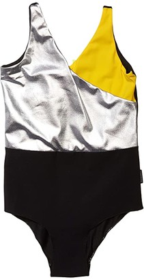 Nununu Tricolor Swimsuit (Little Kids/Big Kids) (Black) Girl's Swimsuits One Piece