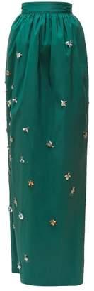 Carolina Herrera Crystal Embellished Silk Faille Maxi Skirt - Womens - Dark Green