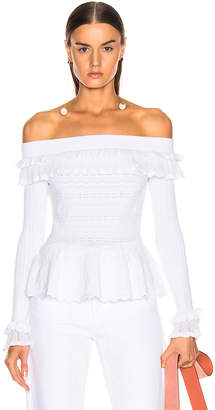 Jonathan Simkhai Lacey Applique Off Shoulder Top in White | FWRD
