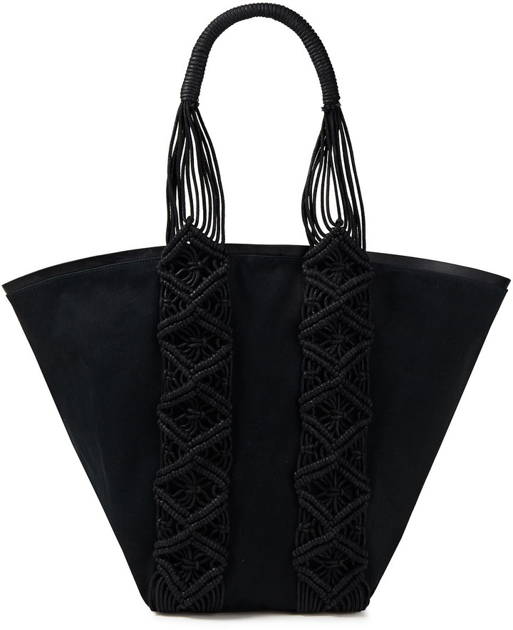 Thumbnail for your product : Rebecca Minkoff Leather-trimmed Macrame Cotton-gabardine Tote