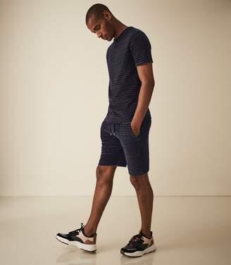 Reiss Norbiton - Striped Towelling Shorts in Navy/orange