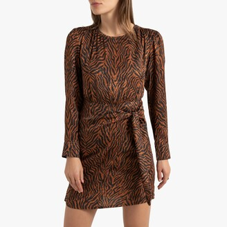 La Redoute Collections Zebra Print Mini Dress with Tie-Waist and Long Sleeves